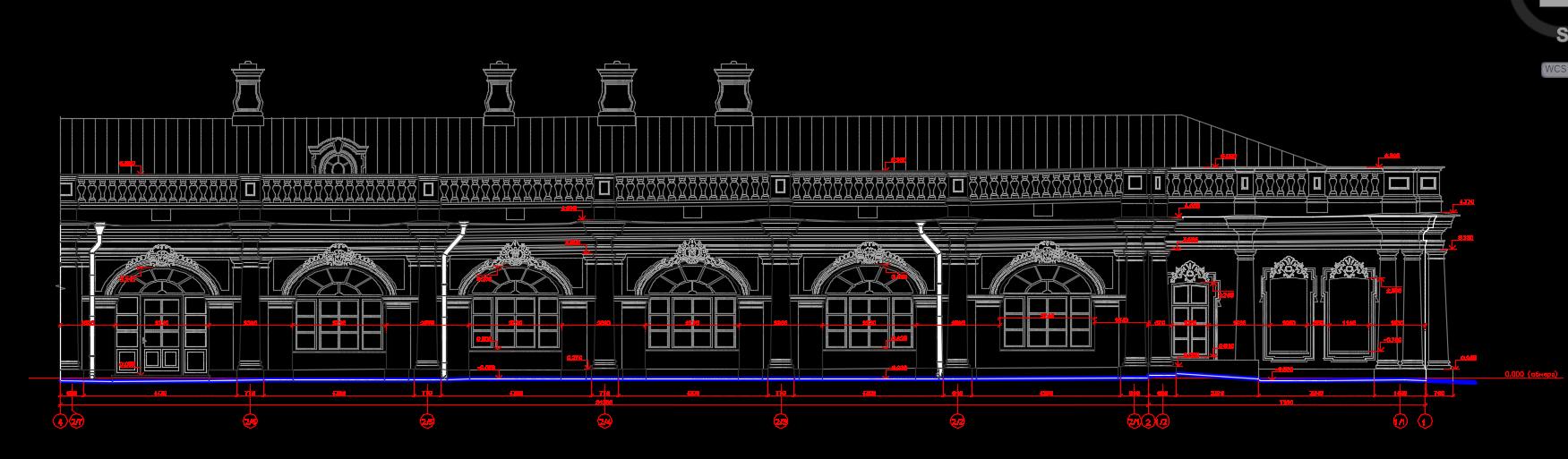 Чертеж фасада Екатерининского дворца в Пушкине