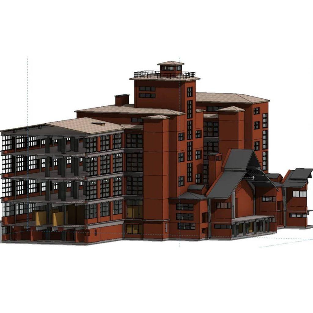 BIM модель заводского здания Красное знамя